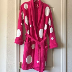 Victoria's Secret hot pink white polka dot robe